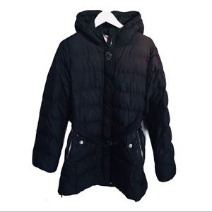 COACH Belted Puffer Winter Jacket Black Size Large